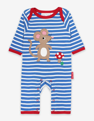 Organic Mouse and Mushroom Applique Sleepsuit