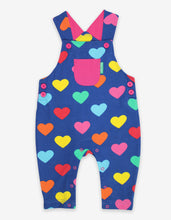 Load image into Gallery viewer, Organic Multi Heart Print Dungarees