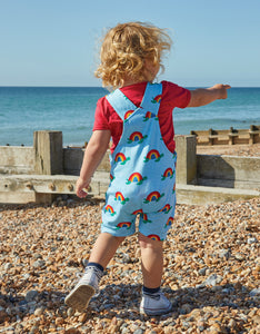 Organic Multi Turtle Print Dungaree Shorts