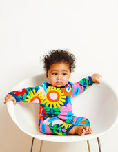 Load image into Gallery viewer, Organic Navy Flower Power Sleepsuit