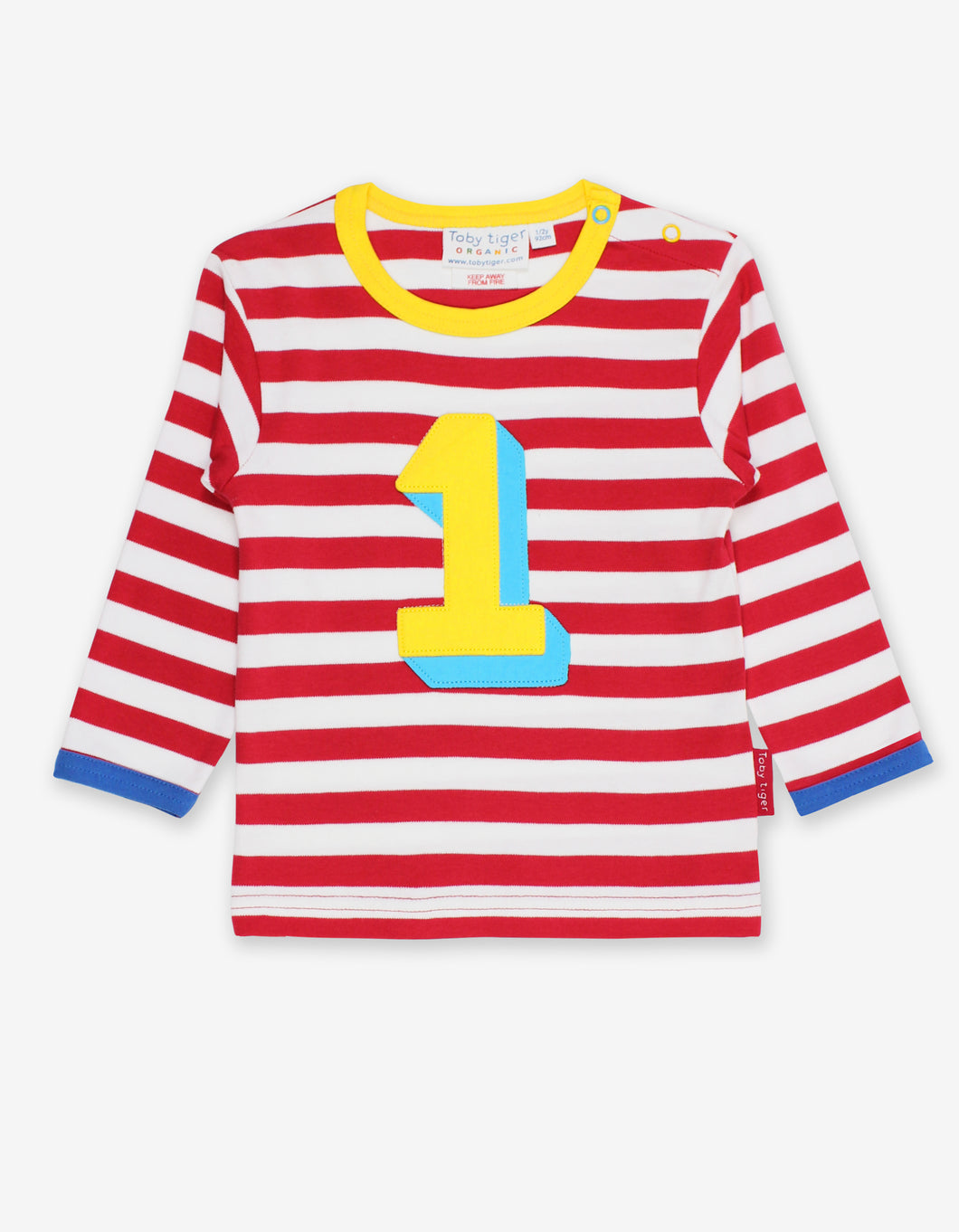 Organic Number 1 Applique Red Stripe T-Shirt