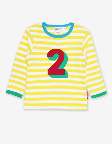 Organic Number 2 Applique Yellow Stripe T-Shirt