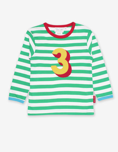 Organic Number 3 Applique Green Stripe T-Shirt