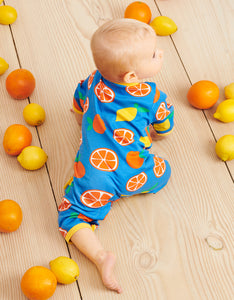 Organic Oranges and Lemons Print Sleepsuit
