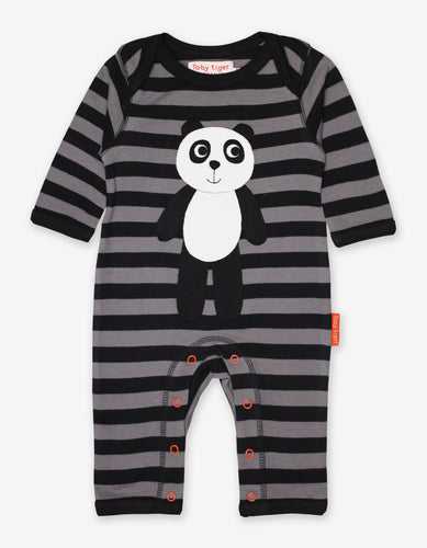 Organic Panda Applique Sleepsuit