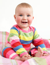Load image into Gallery viewer, Organic Pink Multi Stripe Sleepsuit