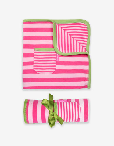 Organic Pink and Green Stripe Blanket