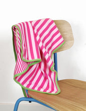 Load image into Gallery viewer, Organic Pink and Green Stripe Blanket