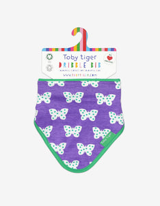 Organic Purple Butterfly Dribble Bib
