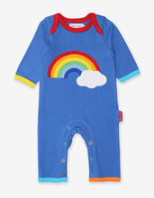 Load image into Gallery viewer, Organic Rainbow Cloud Applique Sleepsuit