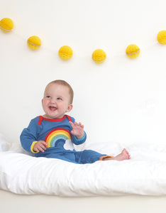 Organic Rainbow Cloud Applique Sleepsuit