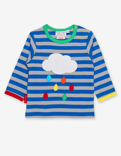 Organic Rainbow Raindrop Cloud Applique T-Shirt