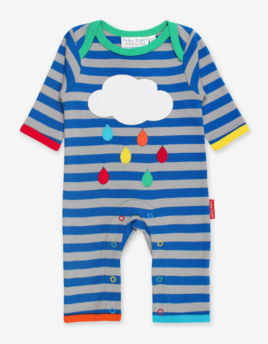 Organic Rainbow Raindrop Cloud Applique Sleepsuit