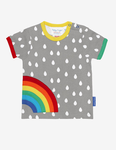 Organic Raindrop with Rainbow Applique T-Shirt