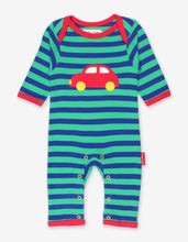 Load image into Gallery viewer, Organic Red Car Applique Sleepsuit