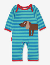 Load image into Gallery viewer, Organic Sausage Dog Applique Sleepsuit