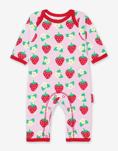 Organic Strawberry Print Sleepsuit