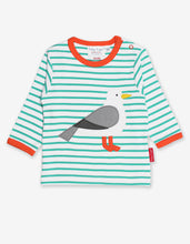 Load image into Gallery viewer, Organic Teal Seagull Applique T-Shirt