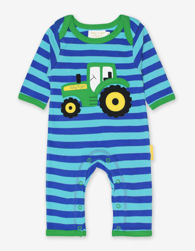 Organic Tractor Applique Sleepsuit