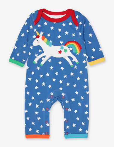 Organic Unicorn Applique Sleepsuit