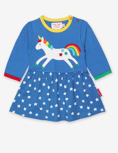 Organic Unicorn Applique Twirl Dress