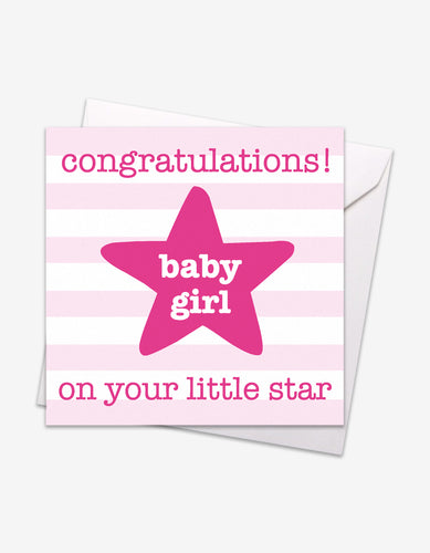 Pink Star Baby Card
