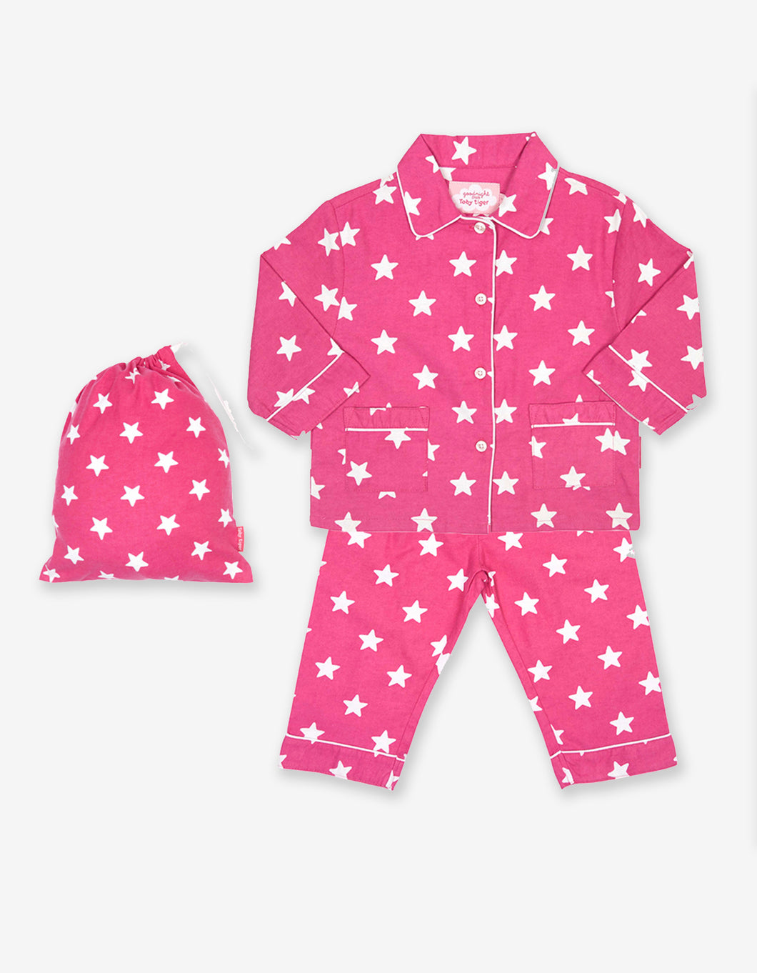 Pink Star Brushed Cotton Pyjamas