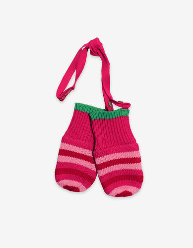 Pink and Green Stripe Knitted Mittens