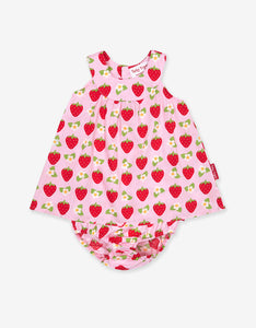 Strawberry Print Baby Dress Set