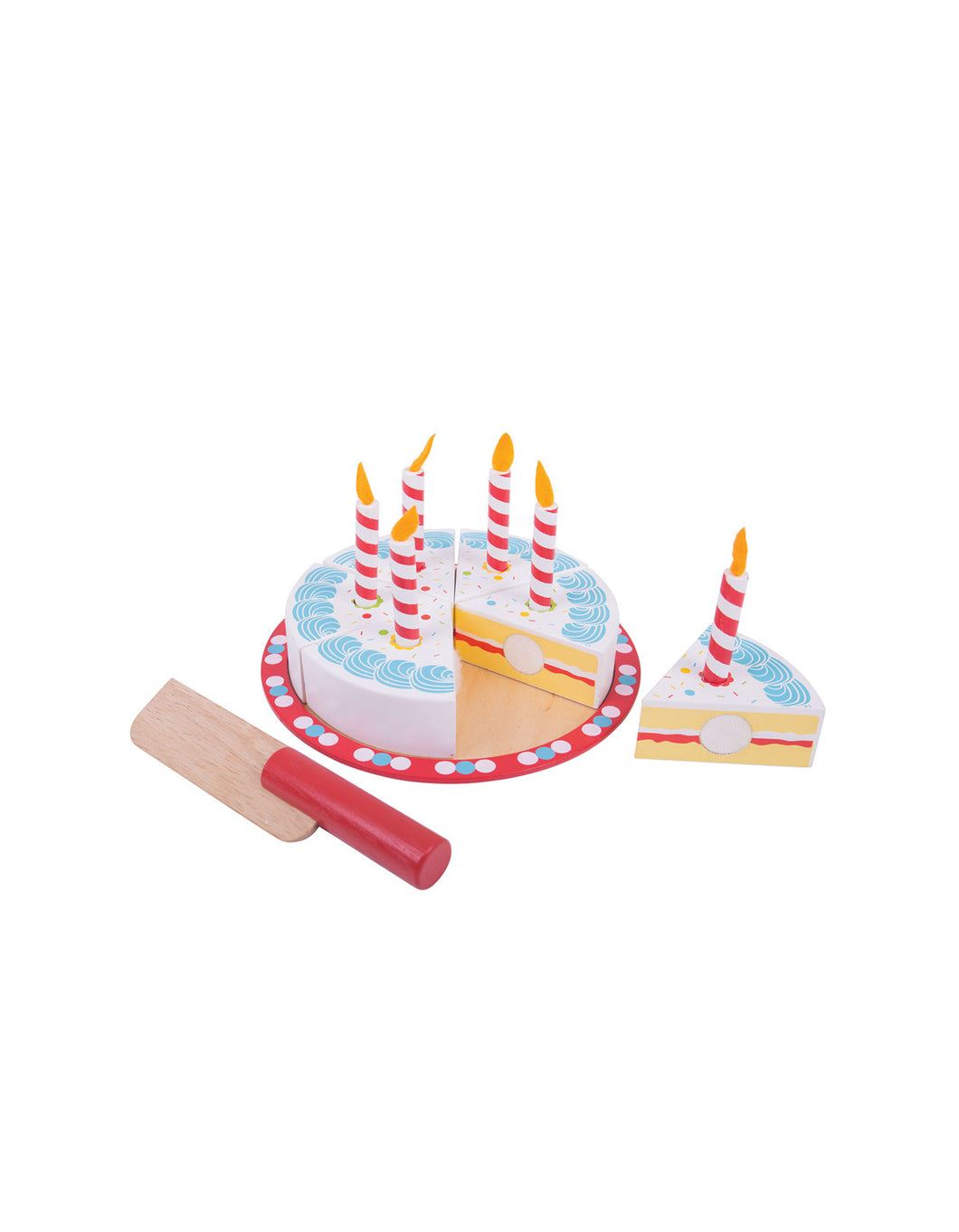Wooden Cutting Birthday Cake With Candles