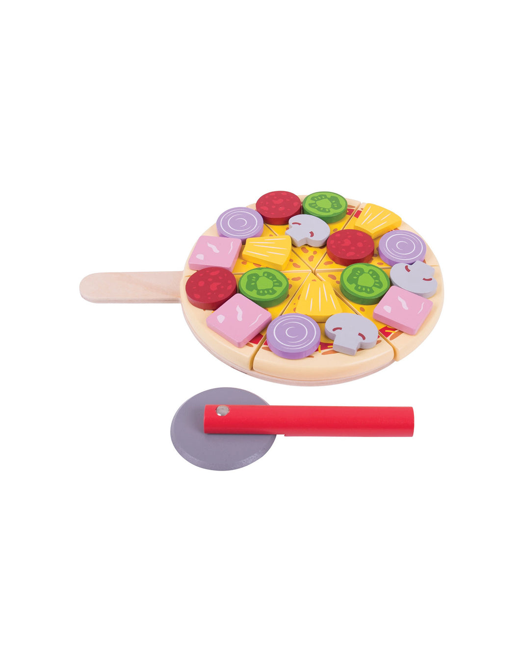 Wooden Cutting Pizza and Pizza Slice