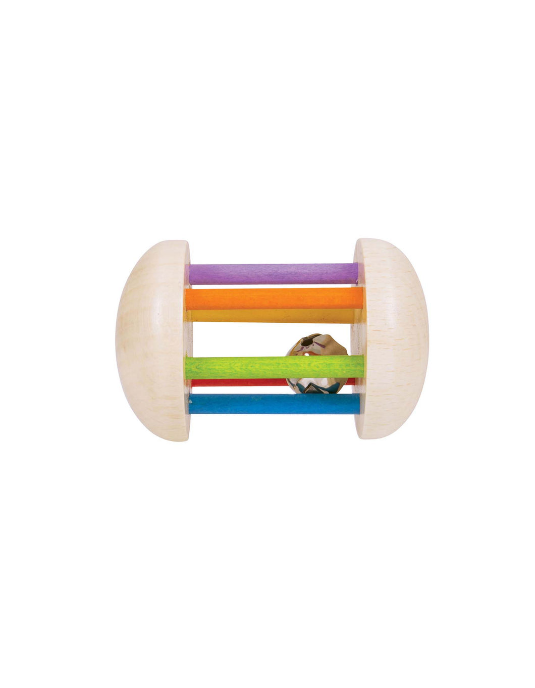 Wooden Rainbow Rattle with Metal Bell