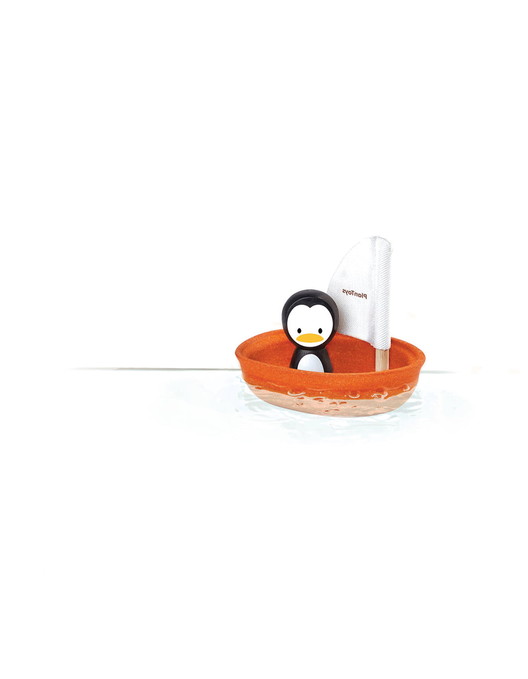 Wooden Sailing Boat Bath Toy -Penguin