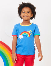 Load image into Gallery viewer, Organic Rainbow Sun and Cloud Applique T-Shirt
