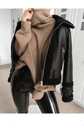 POLY zipper leather jacket