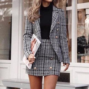 CLINTON tweed button skirt