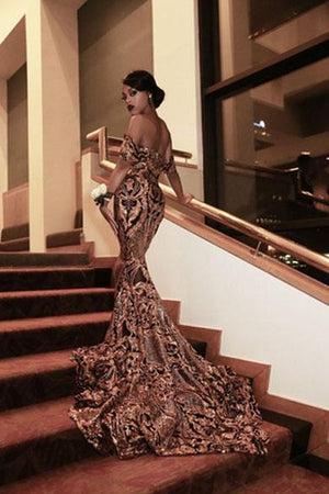 beautifull off shoulder prom dress