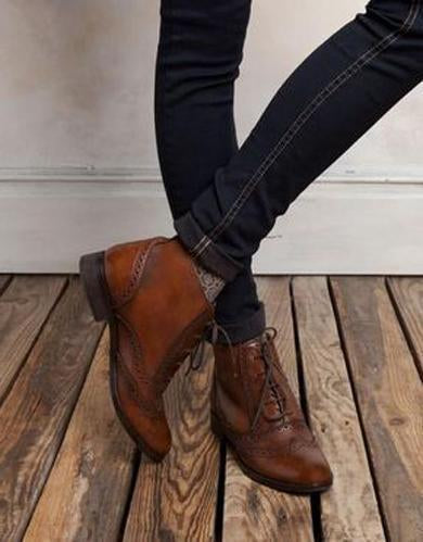 Oxford style ankle boots