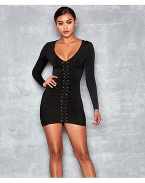 v neck lace up dress