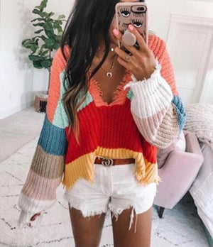 AVRIELA rainbow knit Sweater
