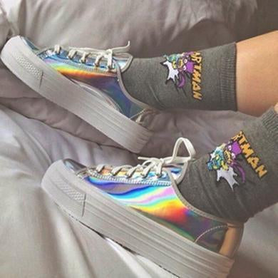 holographic platforms street wear sneakers