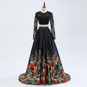 MICHELE two piece floral prom dress