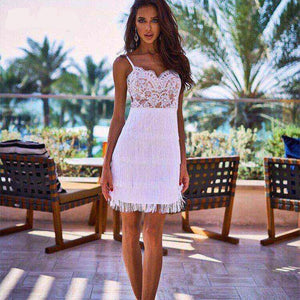 HARPER  Open back lace dress