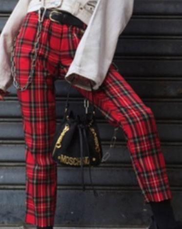 high waist plaid trousers