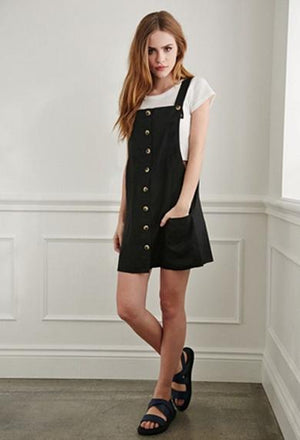 Overall Button Strap Dress