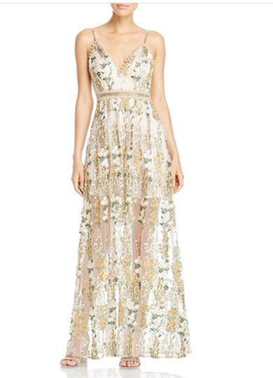 floral gold prom dress