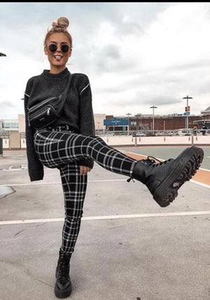 Striped Plaid Leggings