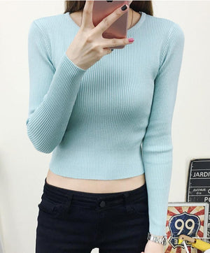The Pullover Sweater Long O-Neck Knitted