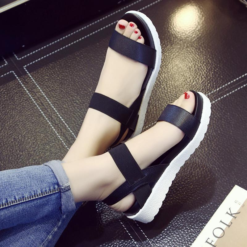 The black Straps white Sandals.