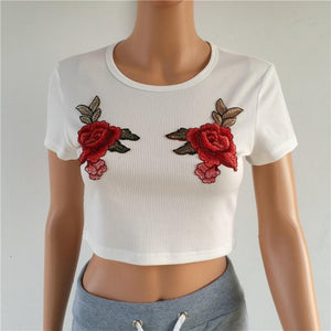 The Rose Floral Embroidery Knit Top